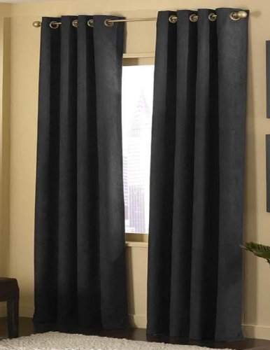4pcs Grommet Top Solid Black Microsuede Window Curtain Panel Set with Matching Color Sheer Lining