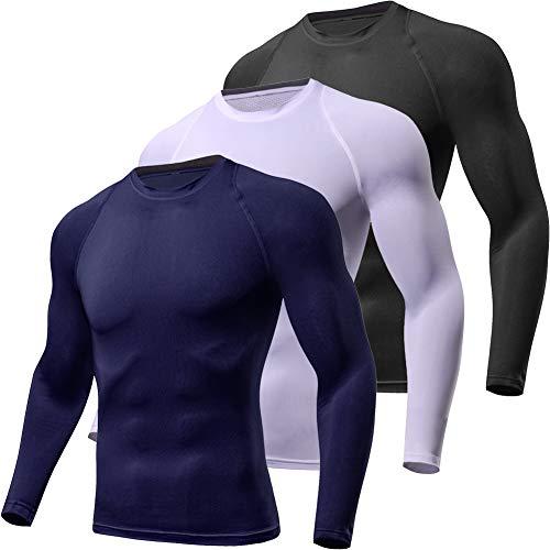 Lavento Men's Compression Shirts Crewneck Long-Sleeve Dri Fit Workout Shirts (3 Pack-Black/White/Navy Blue,X-Large)