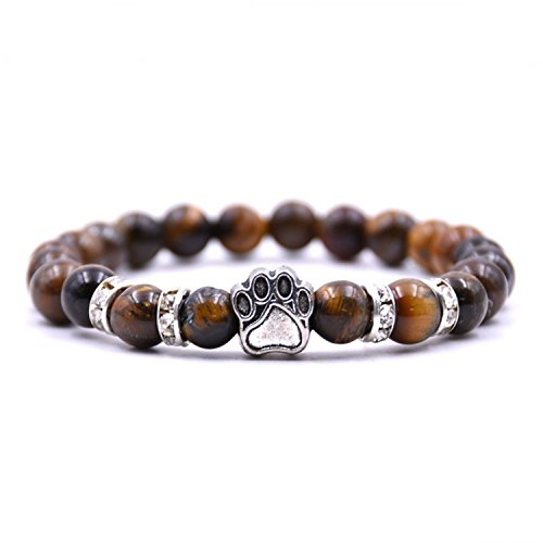 (NENGWENWU Natural Stone Beads Bear Paw Footprint Charm Bracelet Chakra For Pet Lover Jewelry tiger eye)