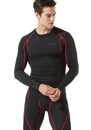 TSLA Men's Long Sleeve T-Shirt Baselayer Cool Dry Compression Top, Athletic(mud11) - Black & Red, Medium...