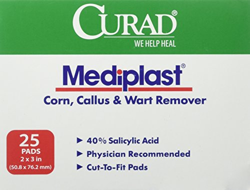Curad Mediplast Corn, Callus & Wart Remover Pads, 25 Pads