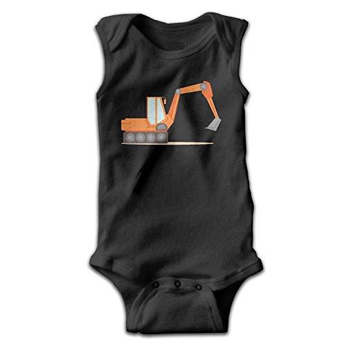 Hizhogqul Orange Excavator Construction Vehicles Baby Sleeveless Romper Bodysuit Jumpsuit 3M Black