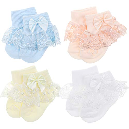 (BQUBO Baby Girls Socks Infant Lace Sock Newborn Socks Eyelet Ankle Dress Sock)