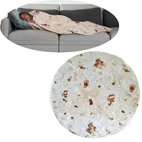 Burrito Wrap Novelty Blanket, Comfort Food Creations Burrito Wrap Novelty Blanket Perfectly Round Tortilla Throw (Multicolor) ()