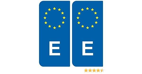 SAFIRMES 2 pegatinas de placa posterior de matrícula de España con Identificador Europeo: Amazon.es: Coche y moto