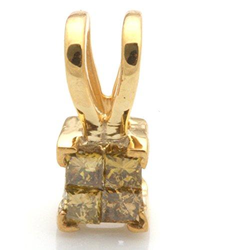 Prism Jewel Princess Cut Invisible Set Yellow Diamond Pendant, 925 Sterling Silver (Diamond Invisible Pendant Set Princess)