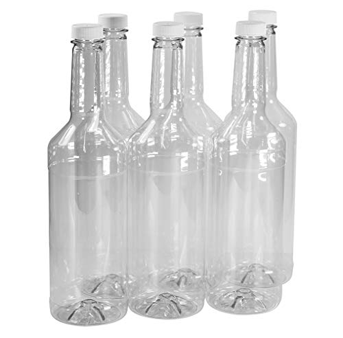 Pinnacle Mercantile 32 oz. Long Neck Plastic Bottles (6-Pack) Empty, Reusable, BPA-Free | Screw On Caps | Liquor, Condiment, Shaved Ice Topping Use | Compatible with Speed Pours ...
