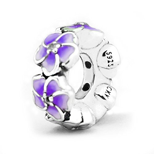- CKK 925 Sterling Silver Purple Flower Spacers Charm Fit for Pandora Bead Bracelet DIY String Bead Women Jewelry Gift