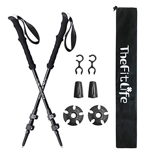 (TheFitLife Nordic Walking Trekking Poles - 100% Carbon Fiber Collapsible and Telescopic Hiking Poles, 2-Pack, Ultra Light, Extendable, Walking Sticks for Traveling Camping Mountaineering (Black))