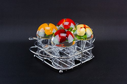 4 Condiment Jam Pots Tray Stand Plastic Mustard Breakfast Metal English 1960s