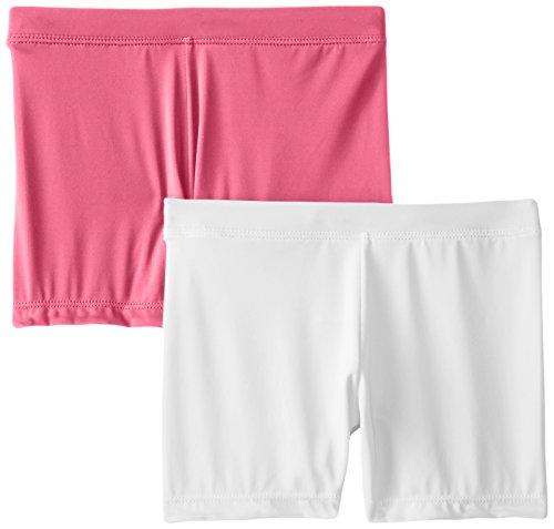 Playground Pals Girls' Big Slim 2 Pack Shorts, Carmine Rose/White, Medium ()