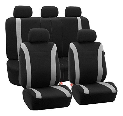 (FH Group FB054GRAY115 Gray Cosmopolitan Flat Cloth Seat Cover (Airbag Ready Split Bench Full Set))