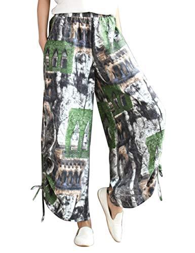Stampato Larga Pantaloni Estate Kaftan Pants Verde Linen Boho Stile Sciolto Donne Casuale Zhhlaixing Gamba Ansimare Grigio Per Primavera Biancheria 5qOxIwCnz