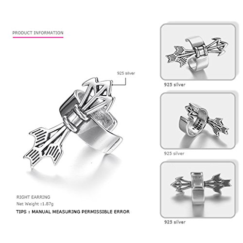 SuperLouisa Fashion Authentic 925 Sterling Silver Earrings And Men Cilp Earrings Casual&Sporty Costume Jewelry right - Pair Costumes Pinterest