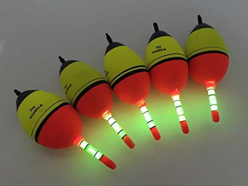 5 Stück 30g EVA Fischen Schwimme + 10 Stück Knicklichter Posen Sbirolinos Beleuchtung Schaum