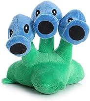 17 cm/6.7 Inch Plants Vs. Zombies Plush Doll PVZ Plant Snow PPea Triple Bomb Plush Toy for Children's Birthday