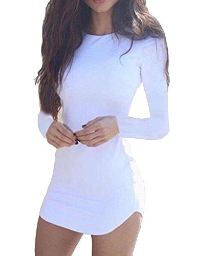 Haola Women s Sexy Bodycon Tight Long Sleeve Mini T Shirts Dresses  Irregular Hem 9ebfed5ea