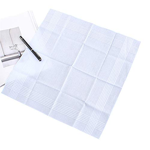 Mydio 13 Pack Pure White Cotton Handkerchiefs,Fine Men's Handkerchiefs