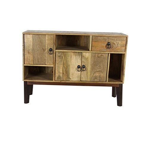 (Deco 79 28772 Mid-Century Modern Natural Wood Cabinet w/ 5 Cabinets & 1 Drawer, 41