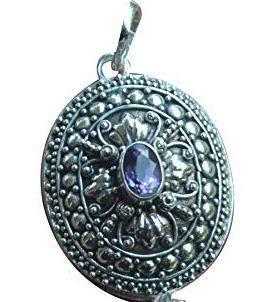 (Silver Box Prayer Necklace Locket Pendant Amethyst 925 Sterling Silver)