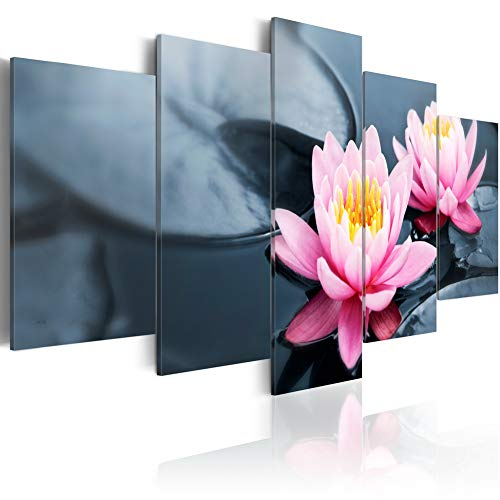 (Water Lily Wall Art Modern Flower Canvas Print 5 Piece Pink Floral Painting Pictures Contemporary Framed Artwork for Office)