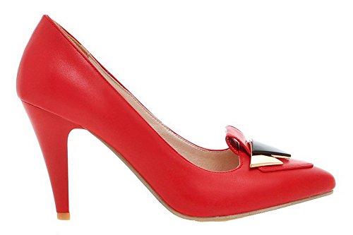 Amoonyfashion Kvinnor Pekade-toe Kick-häl Fasta Pu Pull-on Pumpar-shoes Röda
