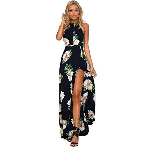 FFLMYUHULIU Womens Sexy Split Floral Off-Shoulder Beach Party Maxi Dress