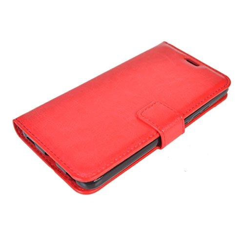 Huawei Honor 5C/ Honor 7 Lite/ GT3 Funda,COOLKE Retro PU Leather Wallet With Card Pouch Stand de protección Funda Carcasa Cuero Tapa Case Cover para Huawei Honor 5C/ Honor 7 Lite/ GT3 - Blanco Rojo