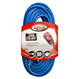 Coleman Cable 02579-0H 12/3 100-Foot Neon Outdoor Extension Cord (Bright Blue)