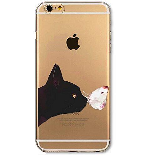 Coque silicone souple iphone 5 et 5S , Chat , cat , papillon , animal , noir ,TPU