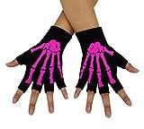 Bienvenu Unisex Stretchy Fingerless Hand Warmer Skeleton Gloves,Fuchsia