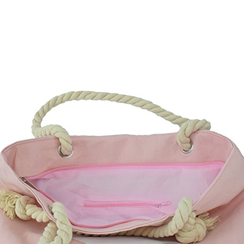 Shopper weiß Sonia Anker Tasche rosa Stern Kordel Anker Originelli Seil Strandtasche T021 UNI UEExFr7wq5