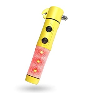 Window Breaker - Seat Belt Cutter - Flashing Emergency Beacon Light - LED Flashlight with Powerful Magnetic Base - Luckystone's 5 in 1 Auto Safety Emergency Escape Tool is the Industry Leader in Car Safety