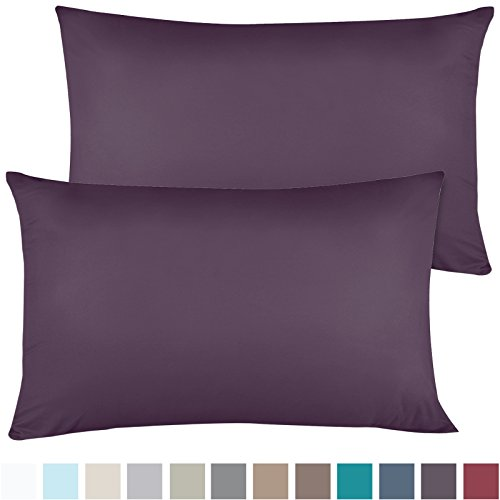 Empyrean Bedding Soft Pillow Cases - Double Brushed Microfiber Hypoallergenic Pillow Covers - Premium Bed Pillow Cases - Luxury Hotel Pillowcases - King Size, Set of 2 - Purple