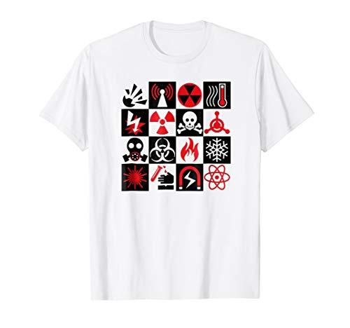 Hazard Danger Warning Icons Symbols Checkered Design TShirt ()