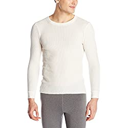 Fruit of the Loom Men's Classics Midweight Waffle Thermal Crew Top, Natural, Large