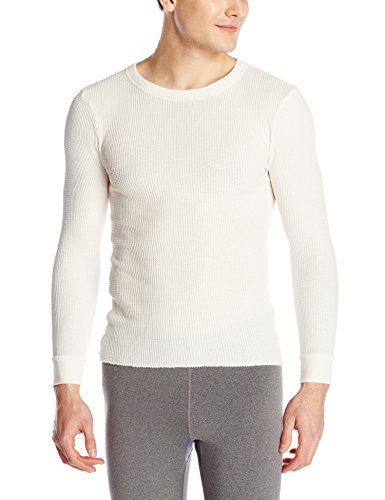 Fruit of the Loom Mens Classics Midweight Waffle Thermal Underwear Crew Top (1 & 2 Packs), Natural, Medium