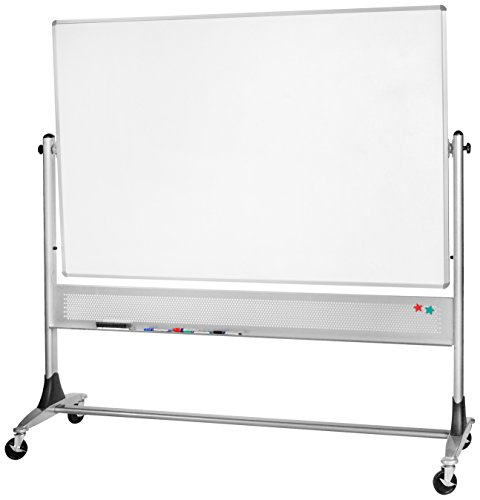 Best-Rite 669RH-DC Platinum Mobile Reversible Whiteboard & Bulletin Easel, 4 x 8 Feet Panel Size, Porcelain Steel Markerboard & Natural Cork Tack Surface ()