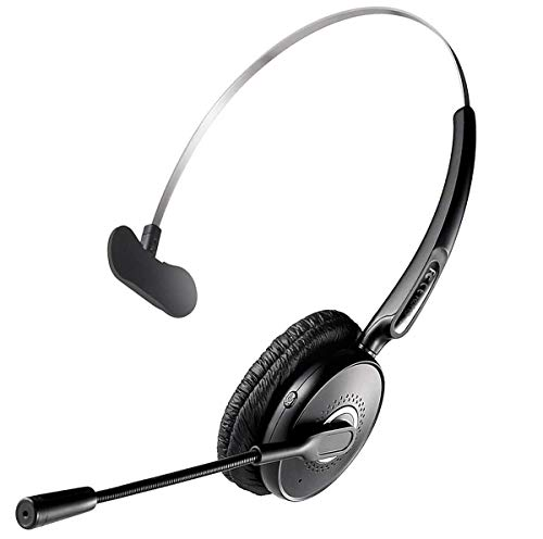 Bluetooth Headset, Noise Canceling Wireless Bluetooth Headset with Microphone for Truck Driver, Over The Head Earpiece, On Ear Car Bluetooth Headphones with 20 Hours Talk Time for Cell Phone