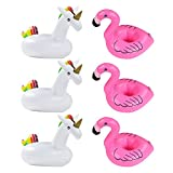 Festar 6-Pack Unicorn Drink Float Inflatable Flamingo Drink Holder for Pool Party
