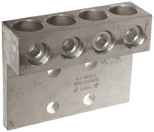 Morris Products 90880 Mechanical Lug, Four Conductors, Four Hole Mount, Aluminum, 1000 AWG, 1000mcm - 500mcm Wire Range 500mcm Cable