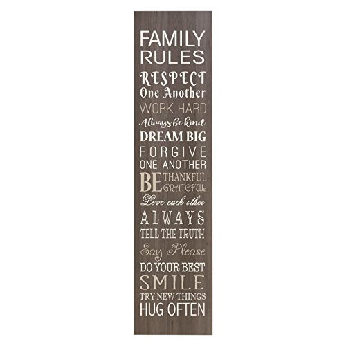 LifeSong Milestones Family Rules Decorative Wall Sign for Living Room entryway, Kitchen, Bedroom,Office, Wedding Ideas (Salt Oak)