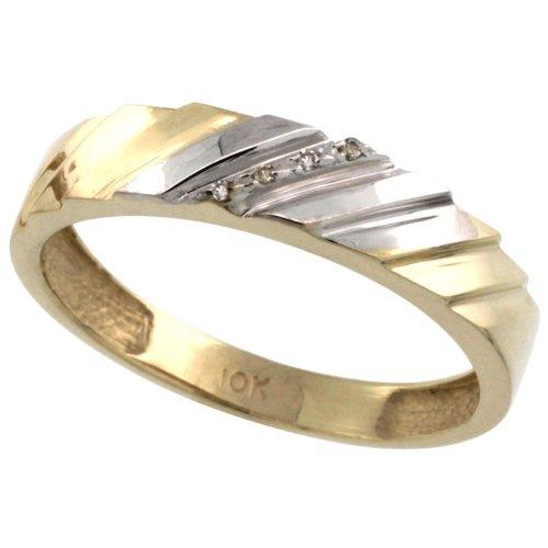 10k Gold Mens Diamond Wedding Ring Band size 10 5mm 3//16 in. wide w// 0.026 Carat Brilliant Cut Diamonds