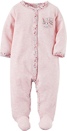 Carter's Baby Girls' One Piece Floral Print Sleep & Play, Heathered Pink Bear, Newborn