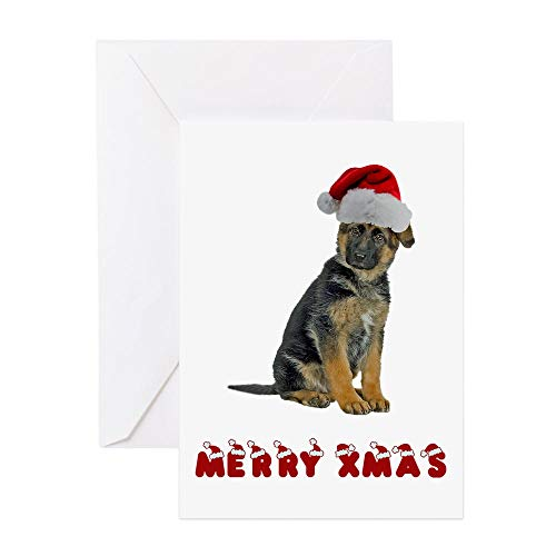 CafePress German Shepherd Puppy Christmas Greeting Cards (Pk Greeting Card (20-pack), Note Card with Blank Inside, Birthday Card Glossy ()