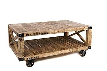 Couchtisch Auf Radern Holz Vintage Stil 120cmx75cmx55cm