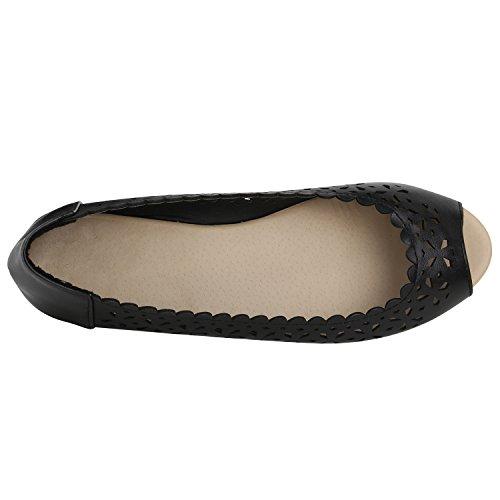 Klassische Damen Ballerinas Leder-Optik Flats Schuhe Übergrößen Flache Slipper Spitze Prints Strass Flandell Schwarz Lochungen