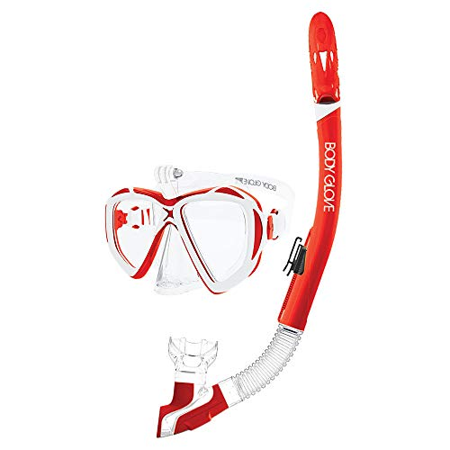 Body Glove Passage Underwater Diving Mask and Snorkel Gear Combo, Red/White ()