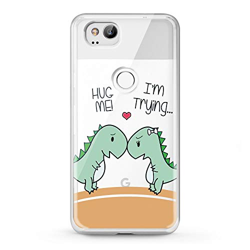 Lex Altern TPU Case Google Pixel 2 3 XL 2016 Clear Cute Dinosaur Lovely Phone Kawaii Cover Heart Print Animal Green Lightweight Protective Kids Funny Flexible Girl Women Silicone Soft Couple Feelings