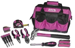 The Original Pink Box PB30TBK 30-Piece Tool Set, w/ 12-Inch Tool Bag, Pink